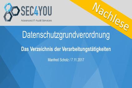 DSGVO Was und Wie Workshop - Das Verzeichnis der Verarbeitungstätigkeiten von SEC4YOU